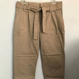 MICHAEL KORS Tan Belted Ankle Pants